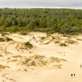 Hikers on the dunes trail look like ants.- Oregon Dunes Day Use Area