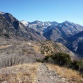 Looking down at the steep, scree-covered descent from Buffalo Peak.- Squaw Peak Loop