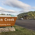 The main viewing area has a large parking lot and many informative displays.- Dean Creek Elk Viewing Area