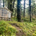 The campground has a few cabins for rent.- Cape Blanco State Park Campground