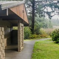 There is one bathroom in the campground.- Cape Blanco State Park Campground