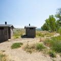 Vault toilets at Quist Beach, Pineview Reservoir.- Quist Beach