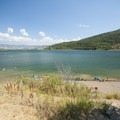 Pineview Beach on Pineview Reservoir's western shore.- Pineview Beach