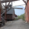 Between the Concentration Mill and Ammonia Leaching Plant at Kennecott Copper Mines National Historic Landmark.- Kennecott Copper Mines National Historic Landmark