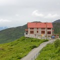 View of the Visitor Center at Independence Mine State Historic Park.- Independence Mine State Historic Park