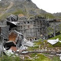 View of the dilapidated Mill Complex at Independence Mine State Historic Park.- Independence Mine State Historic Park