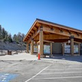 The Mount Rose Summit Trail parking area has bathrooms and informational signs.- Mount Rose Summit Trail