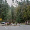Parking area for Lake Creek Falls.- Lake Creek Falls Recreation Site