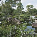 The garden and ponds at the entry with a snowy egret near the water.- Morikami Japanese Gardens