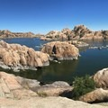 View of Watson Lake from atop a rock formation.- Watson Lake