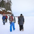 The caves are a mile walk from the parking area.- Apostle Islands Mainland Ice Caves