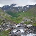 Crow Creek and Crow Creek Valley near Crow Pass.- Crow Pass Trail Thru-Hike