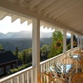 View of Kennicott Glacier and Mount Blackburn from the Kennicott Glacier Lodge porch.- Kennicott Glacier Lodge