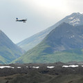 Plane tour flying over Kennicott Glacier.- Root Glacier Trail