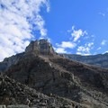 Looking up the first scree slope from Sentinel Pass.- Mount Temple Scramble