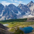 Larch Valley from Sentinel Pass with the Valley of the Ten Peaks in the background.- Mount Temple Scramble