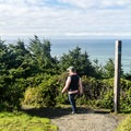 The trail starts from the south parking area.- Cape Sebastian Trail Hike