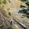 Ropes help manage the descent to the beach.- Cape Sebastian Trail Hike