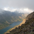 View of Long Lake in the Campbell Creek Canyon from Mount Elliot (4,710 ft).- Williwaw Lakes + Mount Elliot Scramble