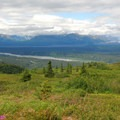 View west toward Denali (shrouded in clouds) and the Chulitna River.- Northern K'esugi Ridge via Little Coal Creek Trailhead