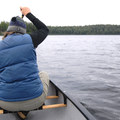 Paddling across Frazer Lake.- Nancy Lake Canoe Trail, Lynx Lake Loop