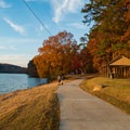 Paved path on the east shore of the lake to several picnic areas.- Murphy Candler Park