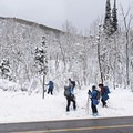 Gearing up for a fun day on the Willow Heights Trail.- Willow Heights Snowshoe