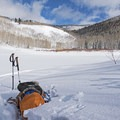 Willow Lake is a great spot for a break.- Willow Heights Snowshoe