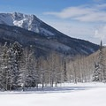 On the left is the western edge of Honeycomb Ridge above Solitude Ski Resort.- Willow Heights Snowshoe