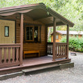 One of three rustic rental cabins.- Alfred Loeb State Park Campground