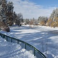 View of Mirror Pond from Drake Park's sledding hill.- Drake Park Sledding