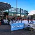 The ice rink is assembled outside the main entrance to Reno's AAA baseball stadium.- Downtown Reno Ice Rink