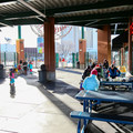 Benches offer non-skaters a place to sit down near the rink.- Downtown Reno Ice Rink