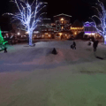 Jumps at the bottom of the hill in Front Street Park, Leavenworth.- Front Street Park Sledding