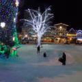 Lights surrounding the hills in Front Street Park, Leavenworth.- Front Street Park Sledding