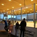 The rink lights up at night so skaters can enjoy the ice all evening long.- The Pavilion Ice Skating