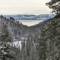 The trail descends while opening up to views of Lake Tahoe.- Skunk Harbor