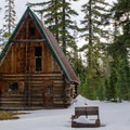 The cabin without the snow pack.- Hemlock Butte Cabin