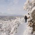 Looking back north toward Salt Lake City.- Bells Canyon Snowshoe