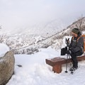 Taking in the views and the crisp air.- Bells Canyon Snowshoe
