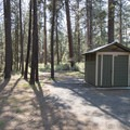 Vault toilet at Indian Ford Campground.- Indian Ford Campground