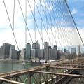 View looking west on the Brooklyn Bridge toward downtown.- Brooklyn Bridge National Historic Landmark