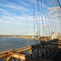 View east to the East River and the Manhattan Bridge from the Brooklyn Bridge.- Brooklyn Bridge National Historic Landmark
