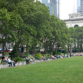 Bryant Park looking east with the New York Public Library in the background and the Chrysler Building in the distance.- Bryant Park