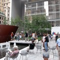 The MoMA courtyard with Richard Serra's steel sculpture dominating.- Museum of Modern Art (MoMA) Courtyard