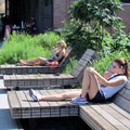 Benches on the High Line. Photo by David Berkowitz (CC 3.0).- The High Line