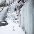 Enormous icicles coat the sides of Pixley Falls.- Canal Trail