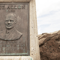 Plaque at summit depicting W. Herbert Allen.- Sandstone Peak, Circle X Ranch