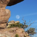 The rising moon over Chiricahua National Monument.- Big Loop Trail