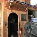 Upper loft and closet.- Rustic Stone Cabin